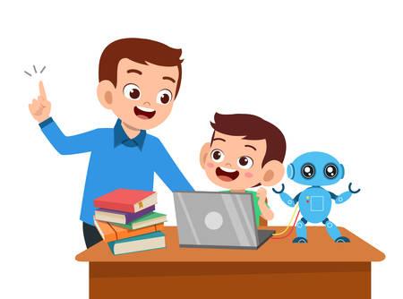 enfants mignons avec vecteur d'éducation à l'étude des parents Vecteurs