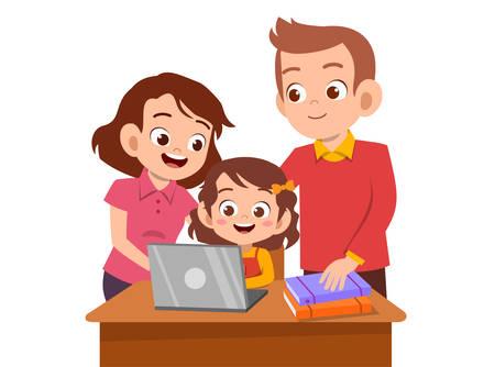 bambini carini con vettore di educazione allo studio dei genitori Vettoriali