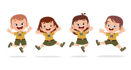 happy cute kids summer camp holiday set Vektorové ilustrace