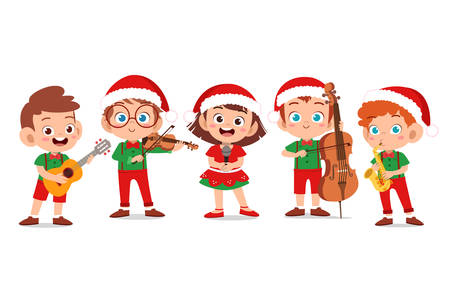 happy kids christmas sing musical vector illustration