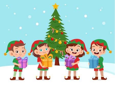 happy kids carry gift christmas vector illustration Ilustración de vector