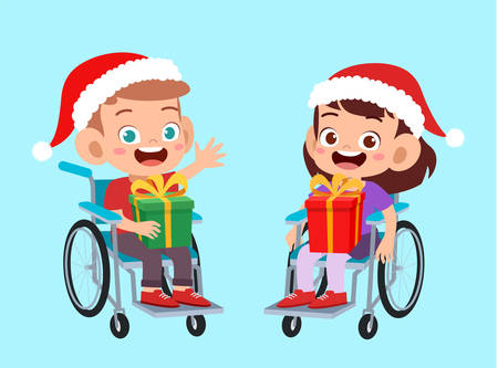 happy kids give present to friend christmas vector illustration