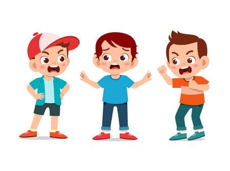 kids school friend argue fight vector illustration