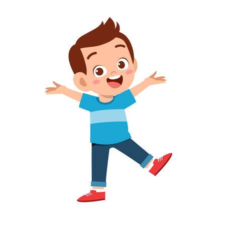 cute kid teen boy show facial expression Vector Illustration