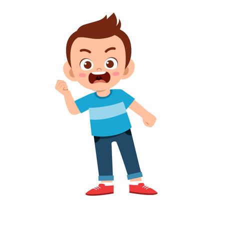 lindo niño adolescente mostrar expresión facial Ilustración de vector