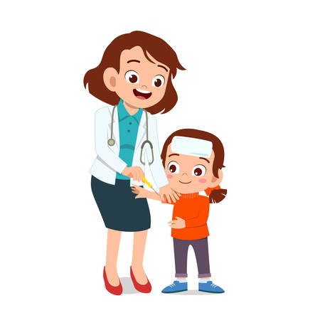 happy kids cute doctor smile drawing vector illustration