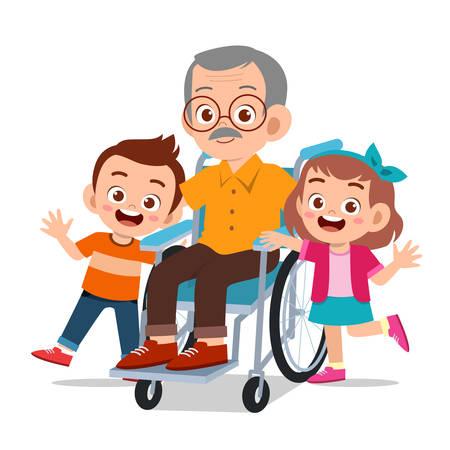 heureux enfants mignons avec illustration vectorielle de grands-parents Vecteurs