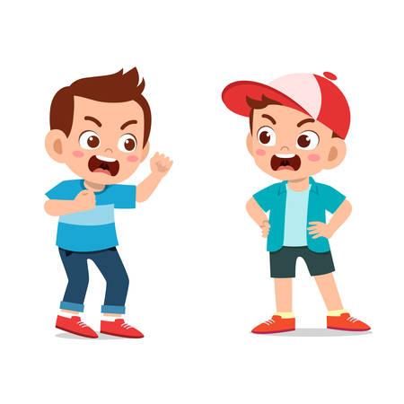 szczęśliwe słodkie dzieci wyrażenie z przyjacielem ilustracji wektorowych