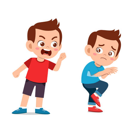 happy cute kids expression with friend vector illustration