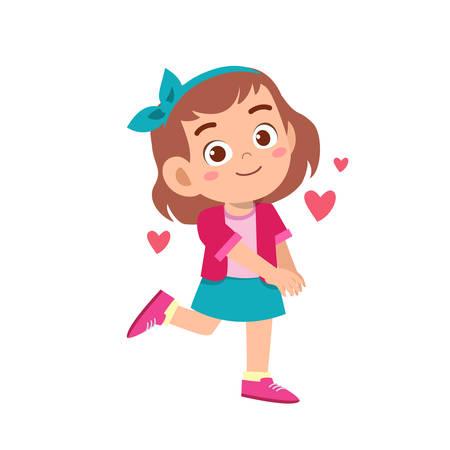 cute kid teen girl show facial expression