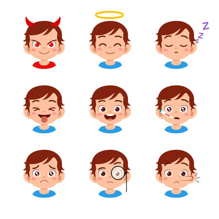 cute kid face expression emoji emoticon set