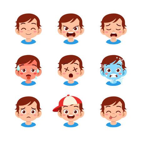 cute kid face expression emoji emoticon set Vetores