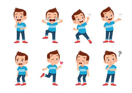 enfant mignon avec de nombreux ensemble d'expressions de gestes Vecteurs