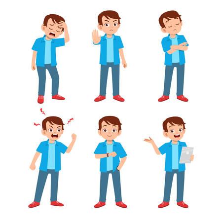 cute teen gesture many expression set bundle Vecteurs