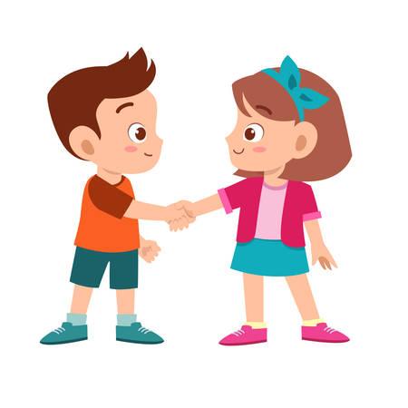 carino bambino felice stretta di mano con un amico Vettoriali