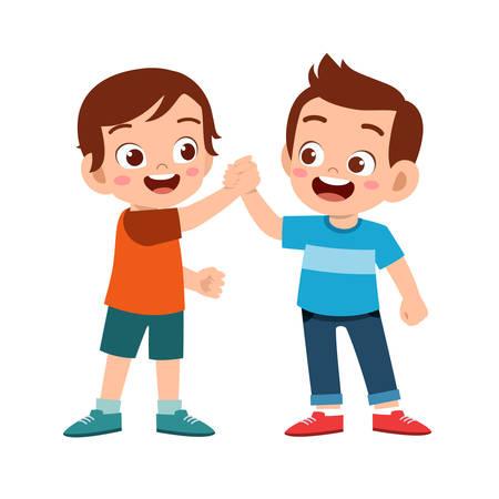 cute happy kid hand shake with friend