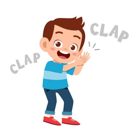cute happy kid clap hand cheer smile Vector Illustratie