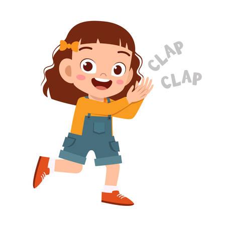 simpatico bambino felice applaude il sorriso allegro della mano