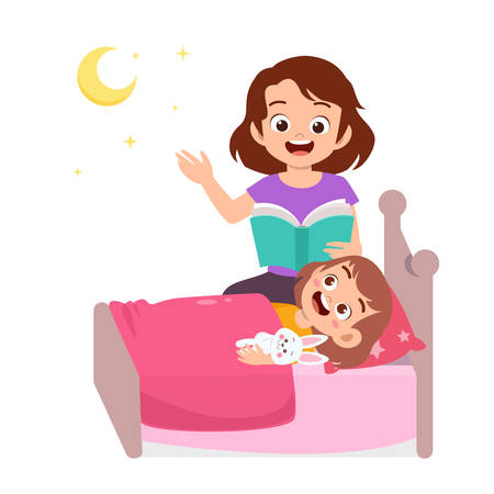 cute happy kid story time with mother