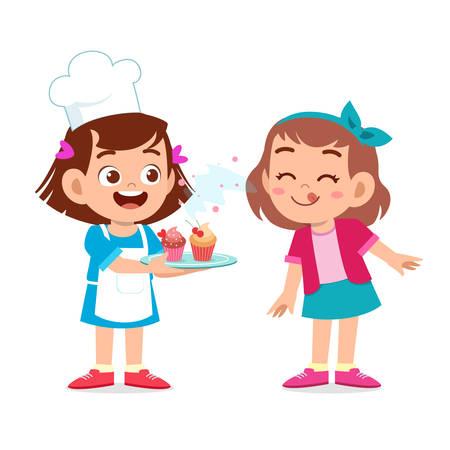 heureux mignon enfant fille chef cuisinier cupcake