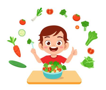 cute happy kid eat salad vegetable fruits Vetores