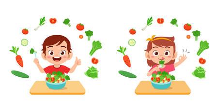 cute happy kids eat salad vegetable fruits Vetores