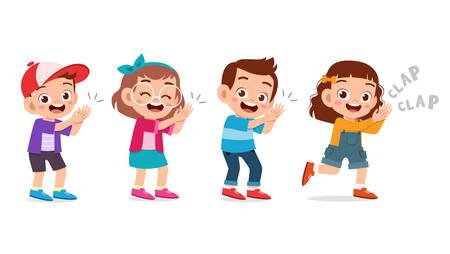 schattig blij kind klap hand juichen glimlach Vector Illustratie