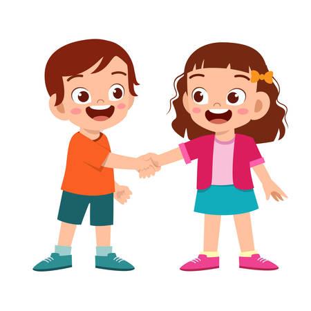 carino bambino felice stretta di mano con un amico