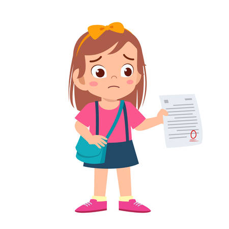 sad kid girl have bad mark from exam Illustration