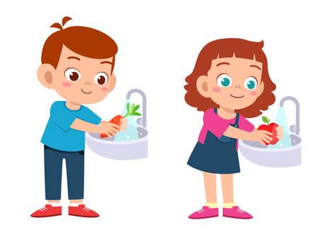 happy cute kids wash vegetable fruit clean