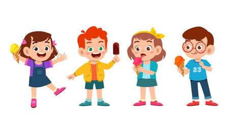 happy cute kids eat ice cream set