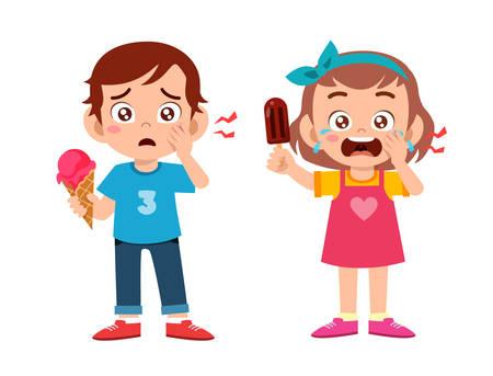 sad cute kids sick suffer toothache cavity Vektorgrafik