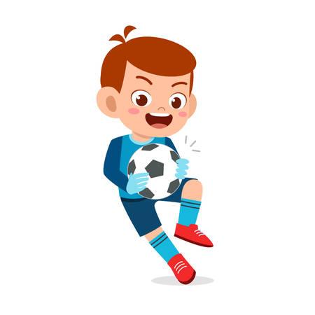 happy kid boy play soccer as goalkeeper