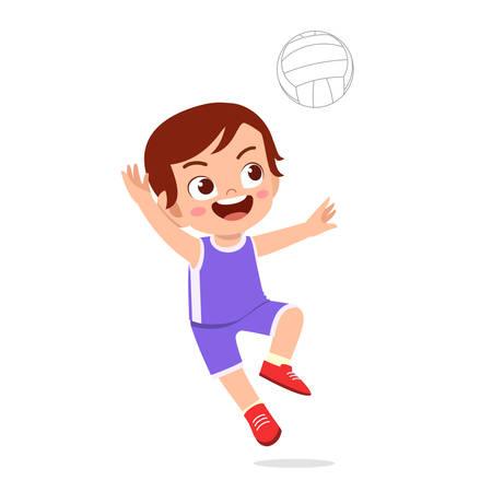 ragazzo carino e felice gioca a pallavolo