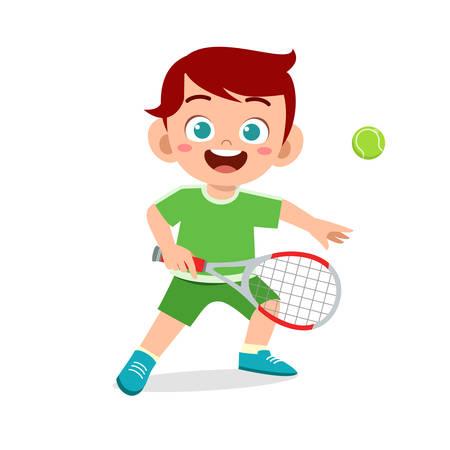 happy cute kid boy play tennis