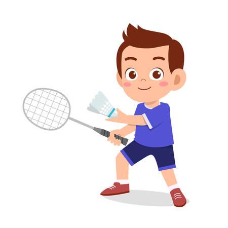 happy cute kid boy play badminton
