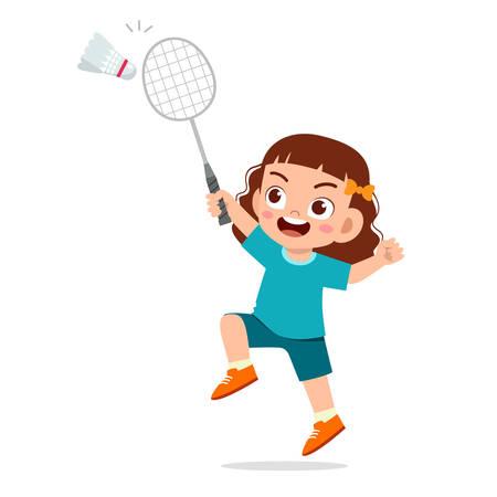happy cute kid girl play badminton