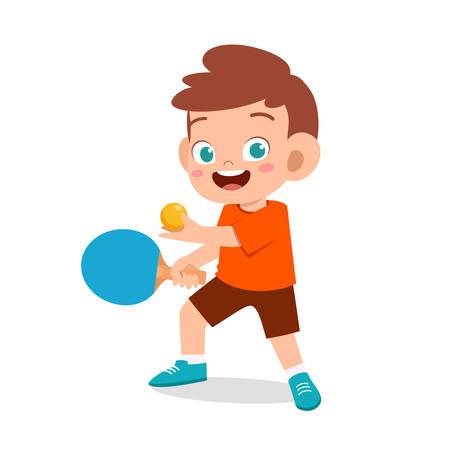 happy cute kid boy play table tennis