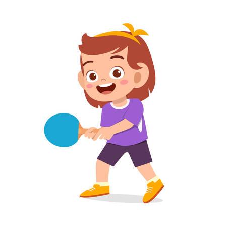 happy cute kid girl play table tennis
