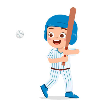 happy cute kid boy play baseball 向量圖像