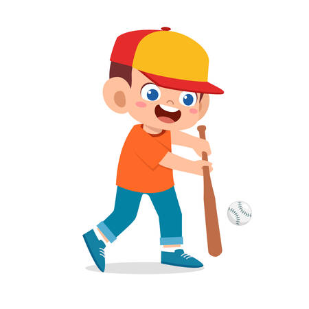 happy cute kid boy play baseball