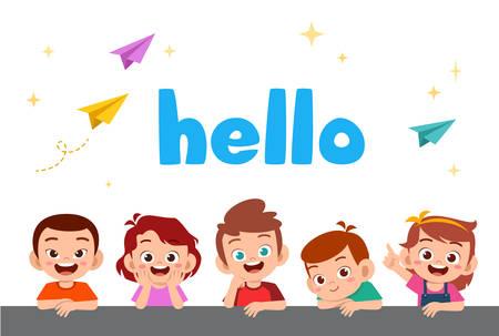 cute happy kids greeting card celebrate birthday vector Çizim