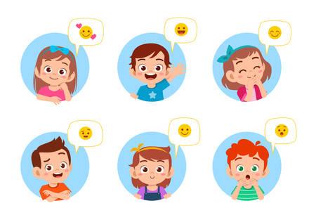 lindo, niño, cara, expresión, emoji, emoticon, conjunto Ilustración de vector