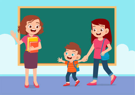 glücklicher süßer Kinderjunge geht mit Muttervektor zur Schule Vektorgrafik