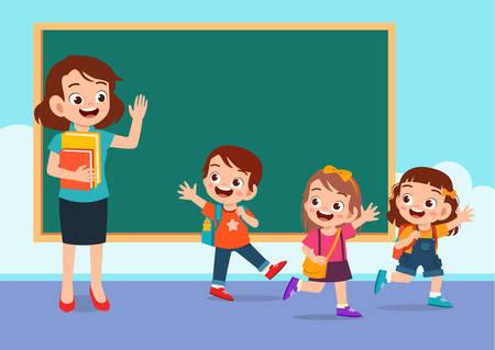 szczęśliwe słodkie dzieci wracają do domu ze szkoły wektor