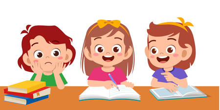 haapy cute kids boy and girl study vector