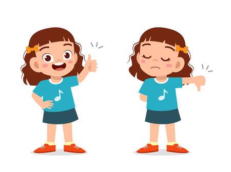 happy cute kid boy thumb up and down vector Ilustração Vetorial