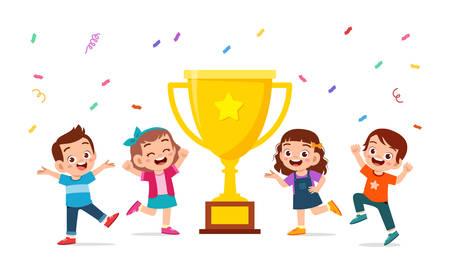 gelukkige schattige kinderen jongen en meisje vieren overwinning vector