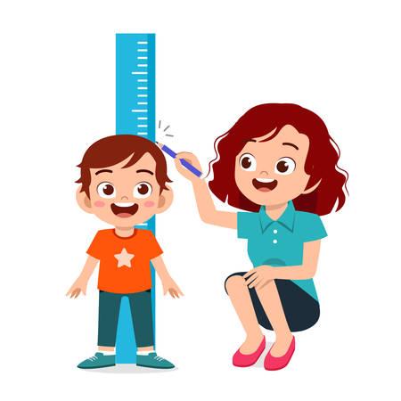 happy cute kid boy measuring height with mom vector Vector Illustratie
