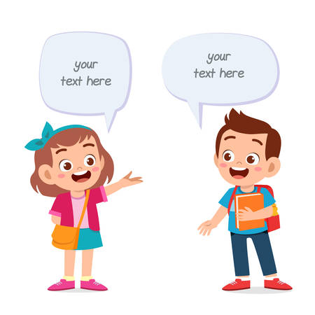 happy cute kid girl and boy balloon dialog vector